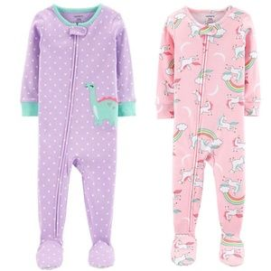 NEW NWT 2 Carter's cotton footies size 12m